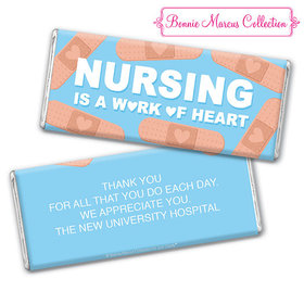 Personalized Bonnie Marcus Collection Nurse Appreciation Hearts Chocolate Bar & Wrapper with Gold Foil
