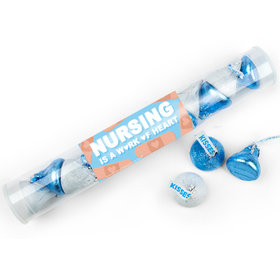 Nurse Appreciation Hearts Bandage Gumball Tube with Hershey's Kisses