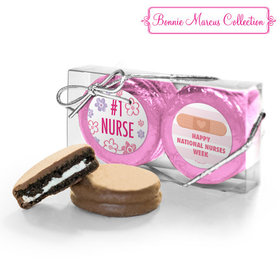 Bonnie Marcus Collection Nurse Appreciation Stripes & Flowers 2PK Belgian Chocolate Covered Oreo Cookies