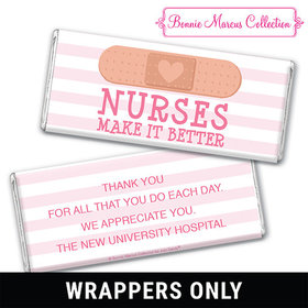 Personalized Bonnie Marcus Collection Nurse Appreciation Stripes Chocolate Bar Wrappers