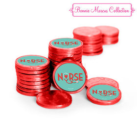 Nurse Appreciation Heart Stethoscope Chocolate Coins with Stickers (72 Pack)