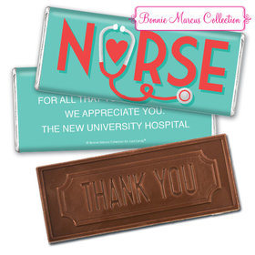 Personalized Bonnie Marcus Collection Nurse Appreciation Red Heart Embossed Thank You Chocolate Bar
