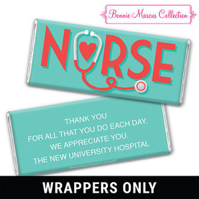 Personalized Bonnie Marcus Collection Nurse Appreciation Red Heart Chocolate Bar Wrappers