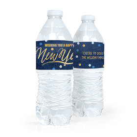 Personalized Bonnie Marcus New Year's Eve Midnight Celebration Water Bottle Sticker Labels (5 Labels)