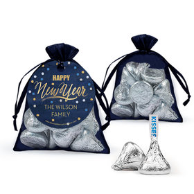 Personalized Bonnie Marcus New Year's Eve Midnight Celebration Hershey's Kisses in Organza Bags with Gift Tag