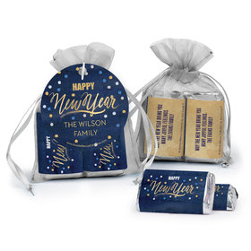 Personalized Bonnie Marcus New Year's Eve Midnight Celebration Hershey's Miniatures in Organza Bags with Gift Tag