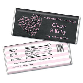 Bonnie Marcus Collection Personalized Chocolate Bar Chocolate and Wrapper with Gold Foil Sweetheart Swirl Rehearsal Dinner