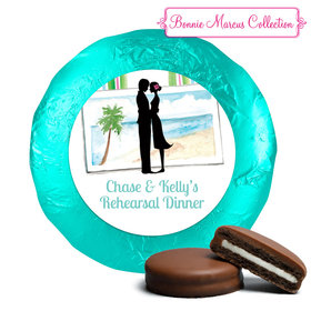 Bonnie Marcus Collection Rehearsal Dinner Tropical I Do Milk Chocolate Covered Oreo Cookies Foil Wrapped (24 Pack)