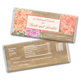 Bonnie Marcus Collection Personalized Chocolate Bar Wrappers Chocolate and Wrapper Blooming Joy Rehearsal Dinner Favor