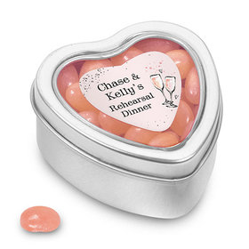 Bonnie Marcus Collection Personalized Small Heart Tin The Bubbly Custom Rehearsal Dinner (25 Pack)