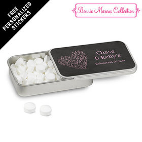 Bonnie Marcus Collection Personalized Mint Tin Sweetheart Swirl Rehearsal Dinner (12 Pack)
