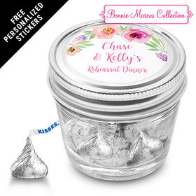 Bonnie Marcus Collection Personalized Small Mason Jar Floral Embrace Rehearsal Dinner Favors (12 Pack)