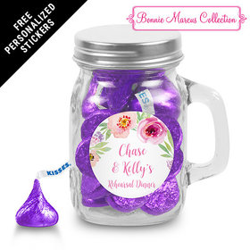 Bonnie Marcus Collection Personalized Mini Mason Jar Floral Embrace Rehearsal Dinner Favors (12 Pack)