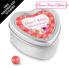 Bonnie Marcus Collection Personalized Small Heart Tin Floral Embrace Rehearsal Dinner Favors (25 Pack)
