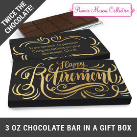 Deluxe Personalized Retirement Script Belgian Chocolate Bar in Gift Box (3oz Bar)