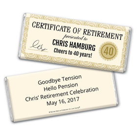Personalized Bonnie Marcus Collection Retirement Certificate Assembled Chocolate Bar