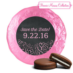 Bonnie Marcus Collection Save the Date Sweetheart Swirl Milk Chocolate Covered Oreo Cookies Foil Wrapped (24 Pack)