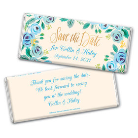 Bonnie Marcus Collection Personalized Chocolate Bar Wrappers Chocolate & Wrapper Here's Something Blue Save the Date Favors