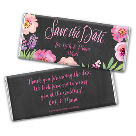 Bonnie Marcus Collection Personalized Chocolate Bar Wrappers Chocolate & Wrapper Floral Embrace Save the Date Favors