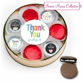 Teacher Appreciation Belgian Chocolate Covered Oreo Cookies Large Gold Plastic Tin