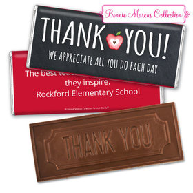 Personalized Teacher Appreciation Apple Embossed Chocolate Bar & Wrapper