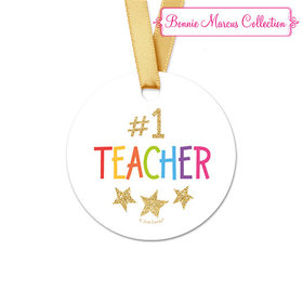 Bonnie Marcus Collection Round Gold Star Teacher Appreciation Favor Gift Tags (20 Pack)
