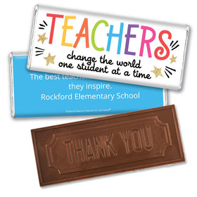 Personalized Teacher Appreciation Gold Star Embossed Chocolate Bar & Wrapper