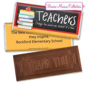 Personalized Teacher Appreciation Books Embossed Chocolate Bar & Wrapper