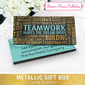Deluxe Personalized Teamwork Word Cloud Chocolate Bar in Metallic Gift Box