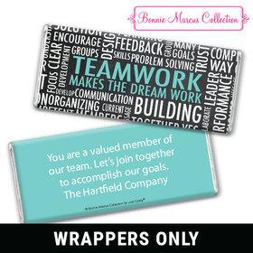 Personalized Bonnie Marcus Collection Teamwork Word Cloud Chocolate Bar Wrapper Only