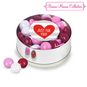 Valentine's Day Stripes Milk Chocolate Minis Small Silver Plastic Tin