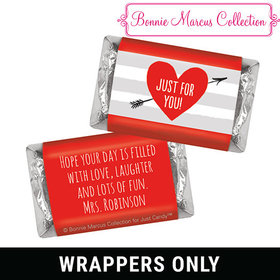 Bonnie Marcus Personalized Valentine's Day Heart and Stripes Mini Wrappers
