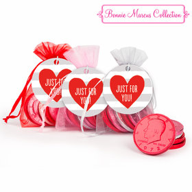 Valentine's Day Heart Stripes Chocolate Coins in XS Organza Bags with Gift Tag - Set of 6