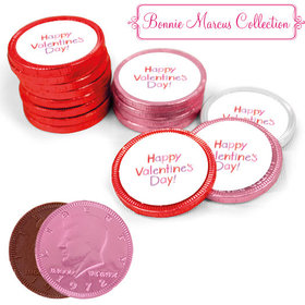 Valentine's Day Milk Chocolate Red, Pink and White Coins with Stickers (84 Pack)