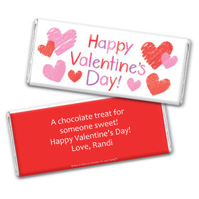 Bonnie Marcus Personalized Valentine's Day Red and Pink Hearts Chocolate Bar & Wrapper