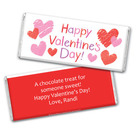 Bonnie Marcus Personalized Valentine's Day Red and Pink Hearts Chocolate Bar Wrapper