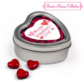 Happy Valentine's Day Hearts Metal Heart Tin with Red Hearts
