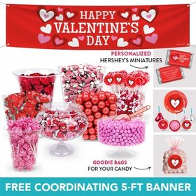 Personalized Valentine's Day Fading Hearts Deluxe Candy Buffet