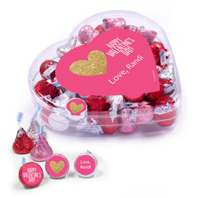 Personalized Valentine's Day Glitter Hearts Clear Heart Box 13oz