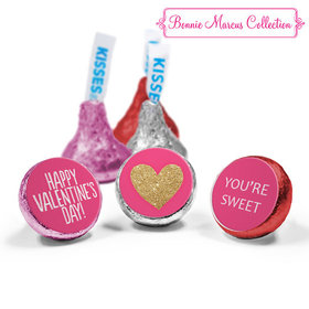 Personalized Valentine's Day Glitter Heart Love Mix Hershey's Kisses Assembled (50 Pack)