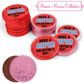 Bonnie Marcus Collection Valentine's Day Superhero Milk Chocolate Red, Pink and White Coins with Stickers (84 Pack)