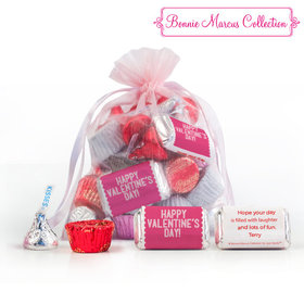 Personalized Pink Medium Organza Bag Happy Valentine's Day Hershey's Mix