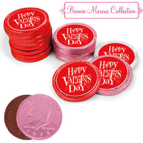 Bonnie Marcus Collection Valentine's Day Cute Heart Milk Chocolate Red, Pink and White Coins with Stickers (84 Pack)