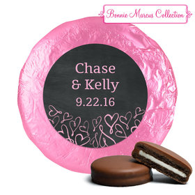 Bonnie Marcus Collection Wedding Sweetheart Swirl Belgian Chocolate Covered Oreo Cookies Foil Wrapped (24 Pack)