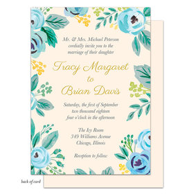 Bonnie Marcus Collection Personalized Watercolor Blue Blossoms Invitation