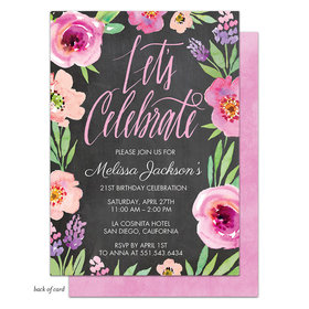 Bonnie Marcus Collection Personalized Watercolor Floral Chalkboard Birthday Invitation