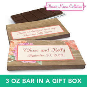 Deluxe Personalized Blooming Joy Wedding Chocolate Bar in Gift Box (3oz Bar)