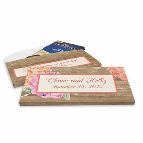 Deluxe Personalized Blooming Flowers Wedding Ghirardelli Chocolate Bar in Gift Box
