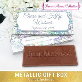 Deluxe Personalized Wedding Flowers Chocolate Bar in Metallic Gift Box