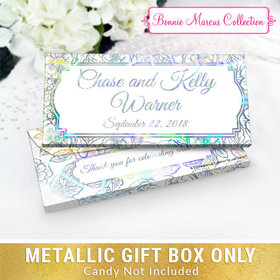 Deluxe Personalized Flowers Wedding Metallic Candy Bar Cover